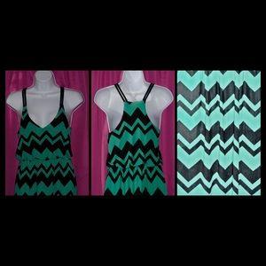 NWOT Green and Black Maxi Summer Dress